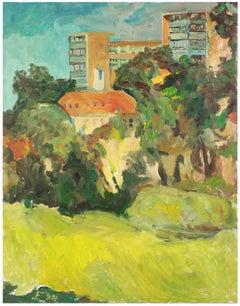 """""""Clement St. Park"""", April 1998 Expressionist Cityscape/Landscape in Oil"""