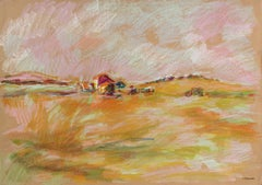 Colorful Abstract San Francisco Landscape in Pastel on Paper, 1983