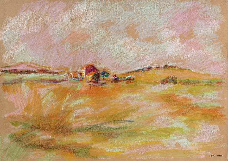 Colorful Abstract San Francisco Landscape in Pastel on Paper, 1983 1