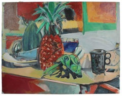 "Colorful ""Still Life with Pineapples"" Oil on Canvas, 1975"