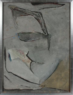 Gray Subdued Abstract 1950s-1960s Acrylic and Charcoal