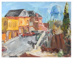 June 23, 1988 Expressionist Cityscape/Landscape w/ Water Tower in Oil on Canvas