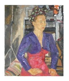 Modernist Portrait of a Woman in Oil, 2000s