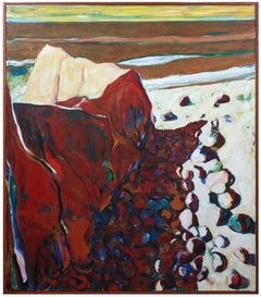 """Rockaway Beach Point"", Abstracted Coastal Painting in Oil with Maroon, 1976"