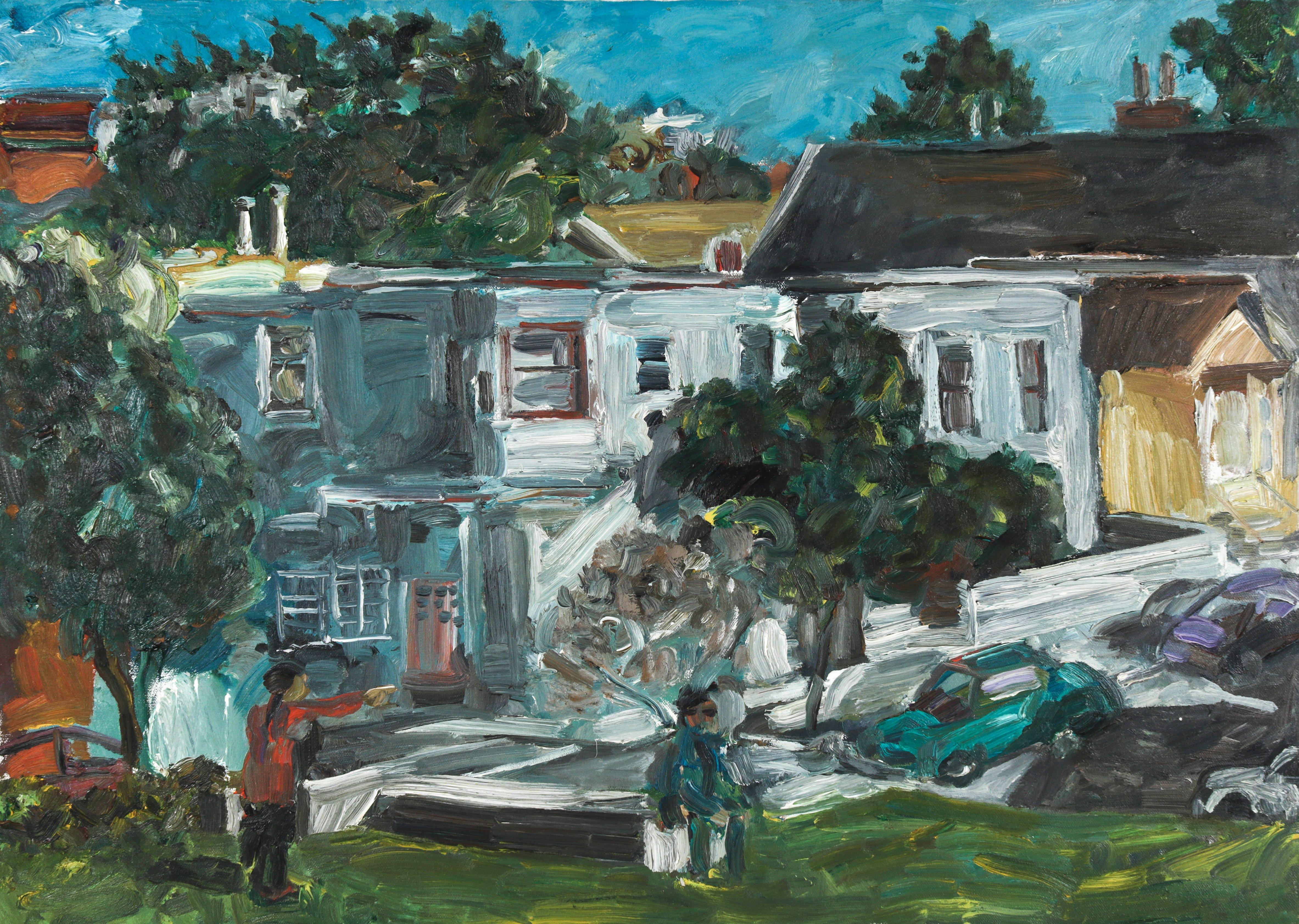 San Francisco Victorian Homes 1999 Oil Painting