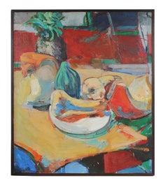 """""""Squash"""" Colorful Still Life 1970s Oil"""