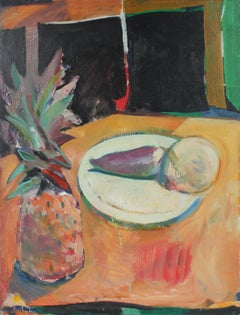 """Turnip"" Still Life with Pineapple, Oil Painting, 1973"