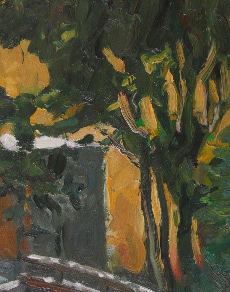 Warm Expressionist Landscape 2000s Oil Painting - Black Landscape Painting by Jack Freeman