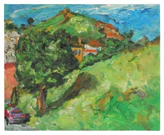 """""""Yukon St."""" 2001 San Francisco Hillside and Blue Sky Landscape with Green in Oil"""