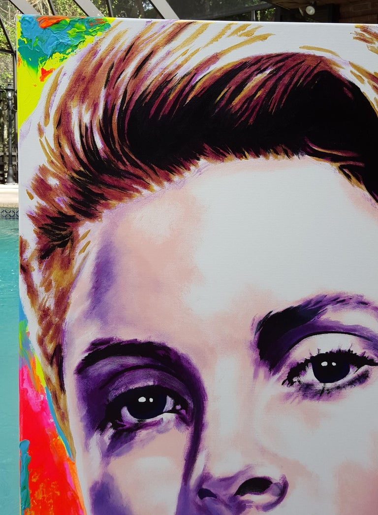 Grace Kelly Icon VI - Brown Portrait Painting by Jack Graves III