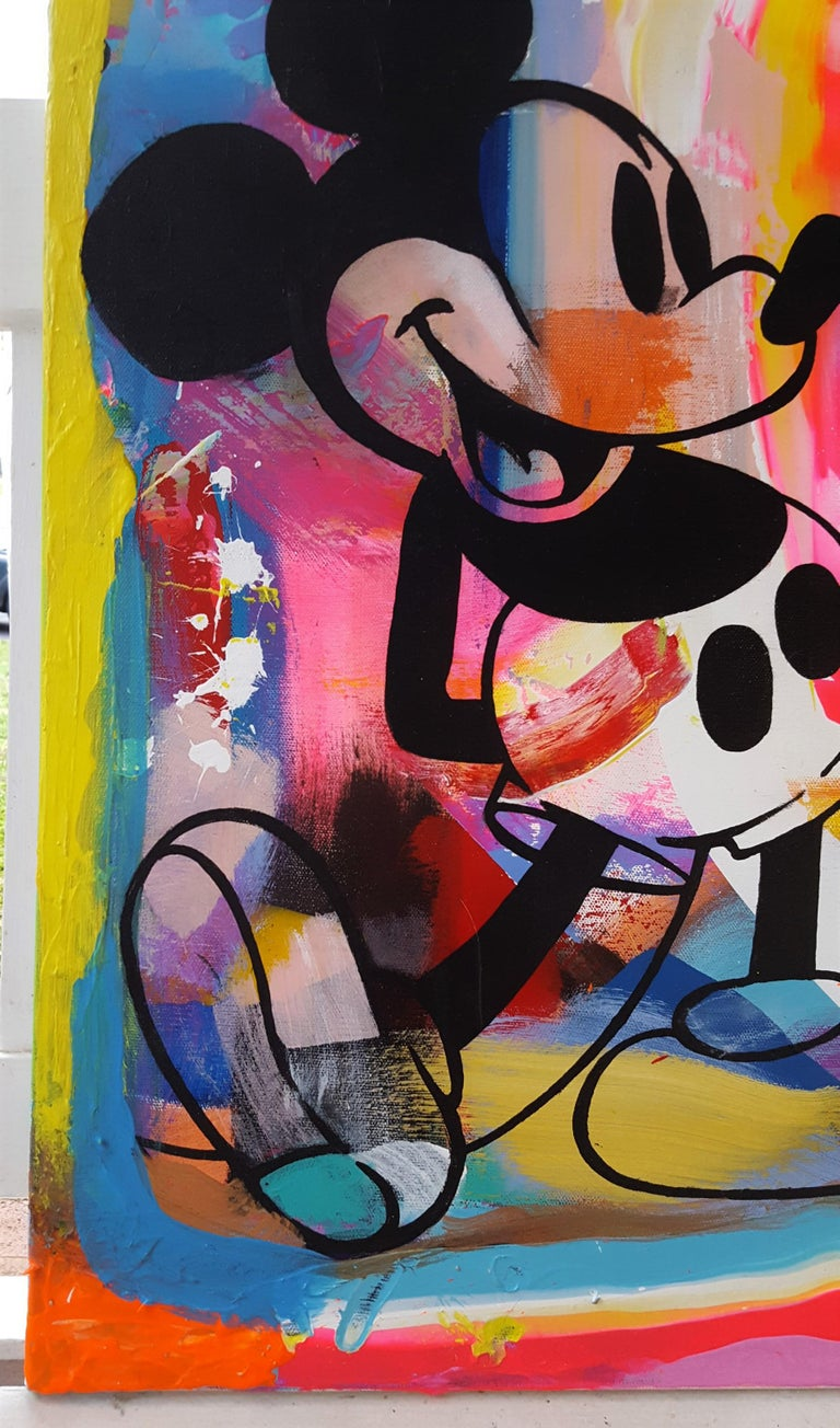 Mickey Mouse, Snoopy, and Woodstock Group Icon - Painting by Jack Graves III