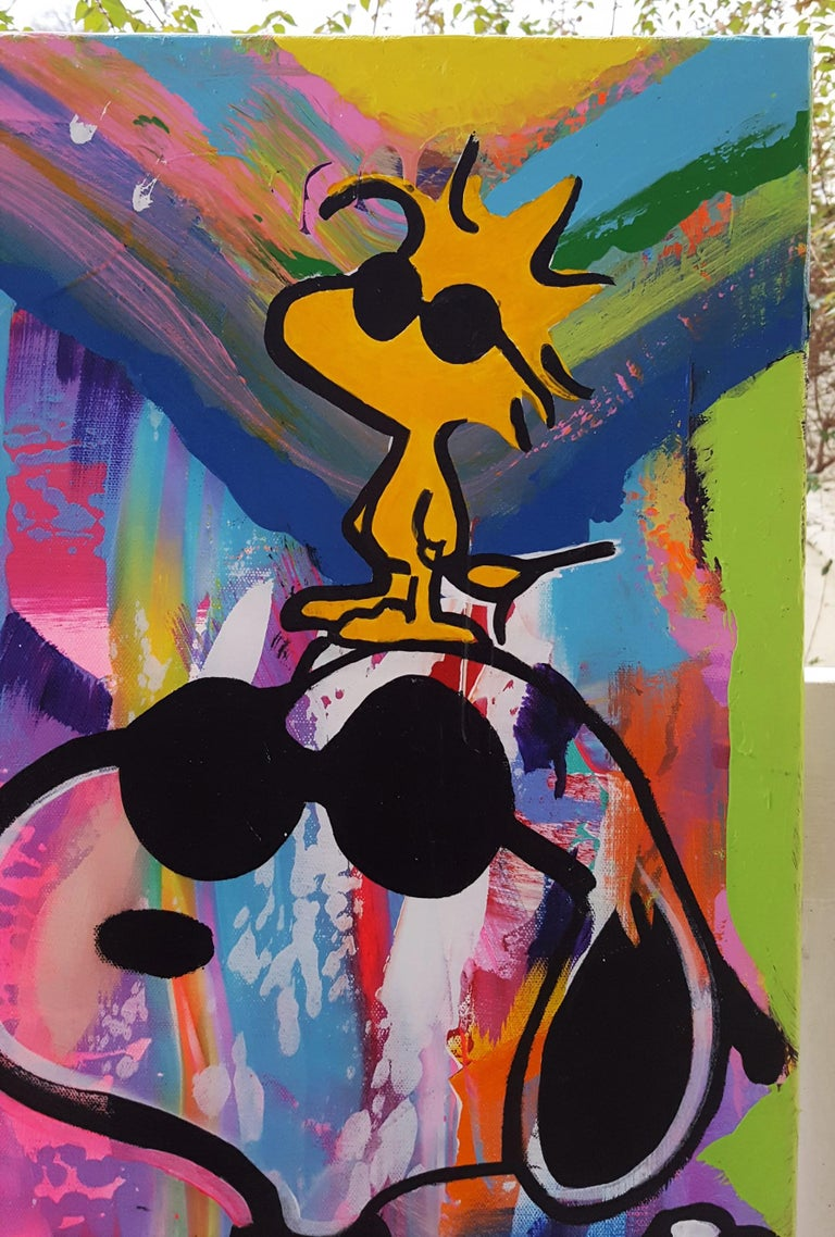 Mickey Mouse, Snoopy, and Woodstock Group Icon - Black Figurative Painting by Jack Graves III