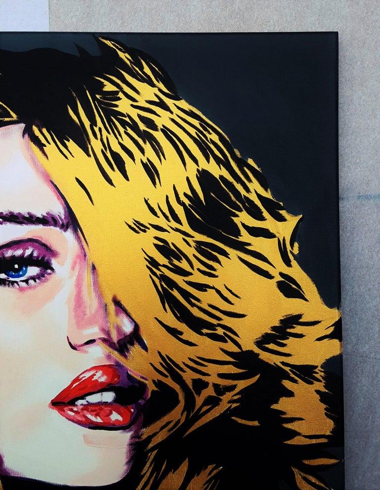Rosie Huntington-Whiteley Icon IV - Black Portrait Painting by Jack Graves III