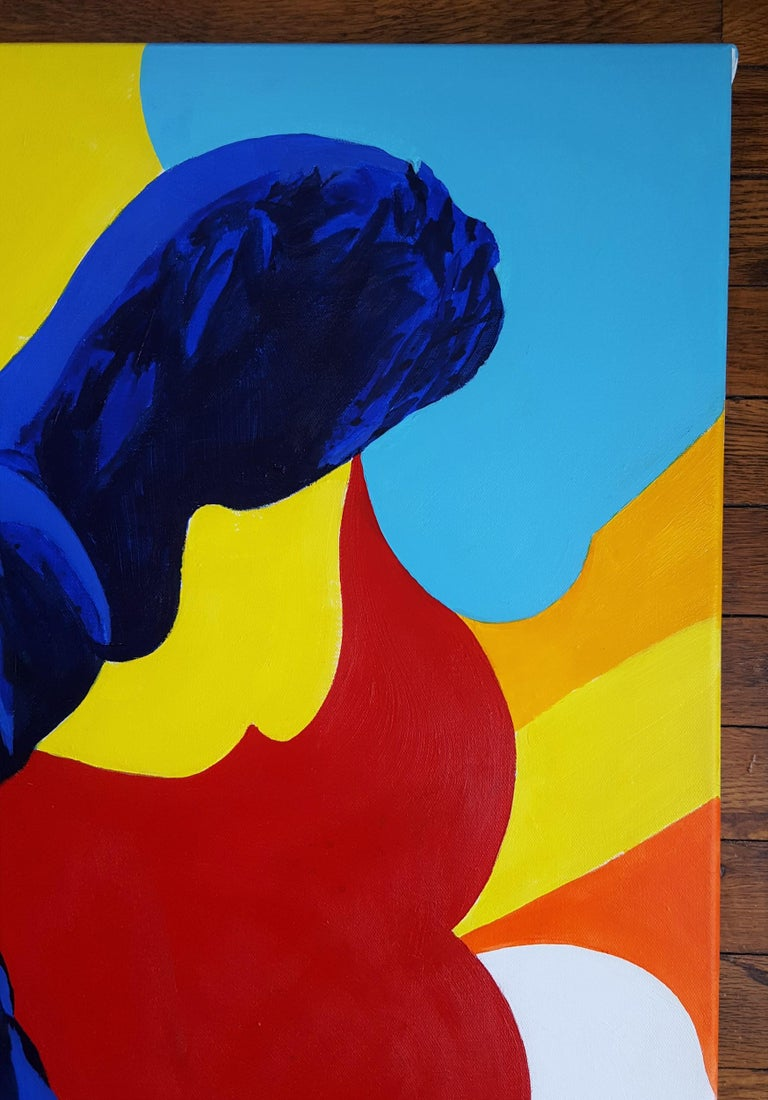 The Victory of Samothrace Icon (Yves Klein) - Orange Figurative Painting by Jack Graves III