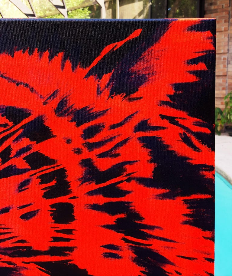 Tiger Icon - Red Animal Painting by Jack Graves III