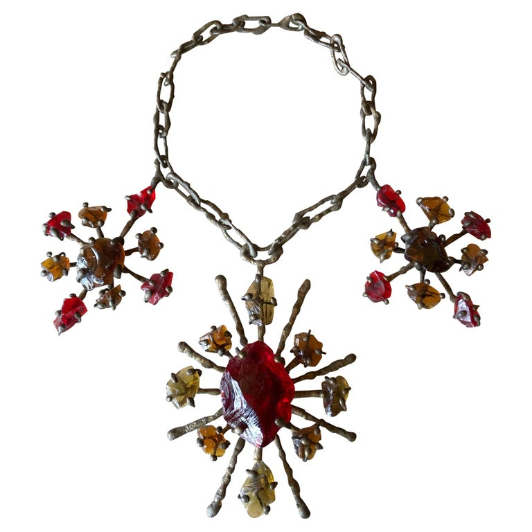 Jack Hoag Brutal California Bronze Drip on Metal Chain Necklace and Glass Chunks For Sale