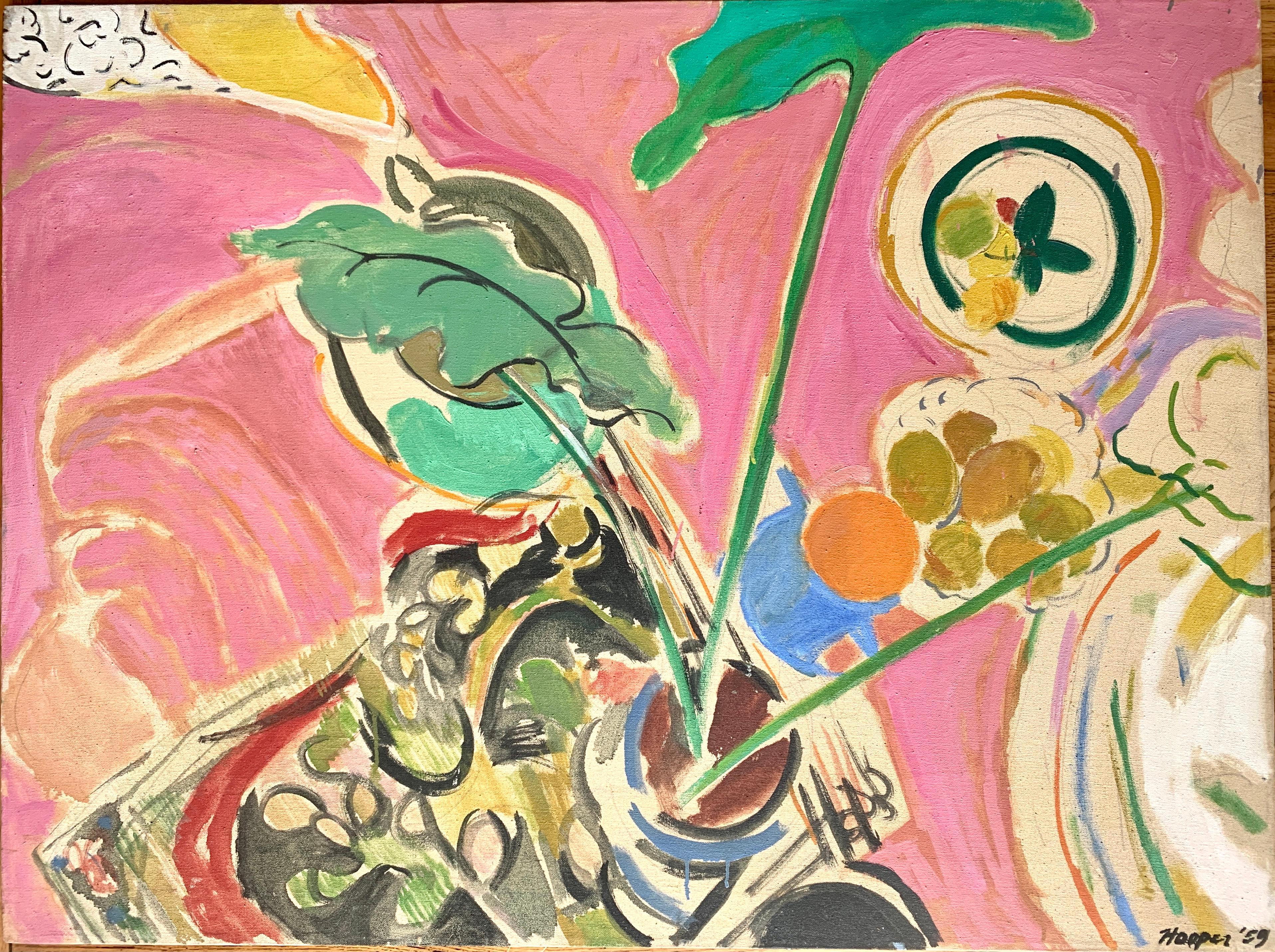 """1959 """"Plant Still Life In Pink"""" Jack Hooper Mid Century Still Life oil Painting"""