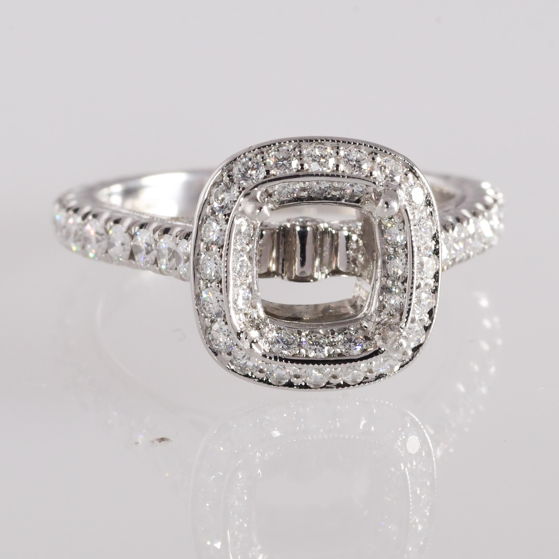 402e0541ca6f6 Jack Kelege 1.23 Carat Diamond Platinum Ring Mounting VVS1-VS2; F-G-H