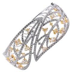 Jack Kelege 14 Karat White Gold Diamond and Fancy Yellow Diamond Ornate Bracelet