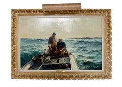 Mid Century Modern Framed Ram Boat Signed Oil Signed Jack Lorimer Gray 1950s 60s