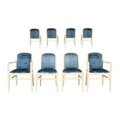 Jack Lenor Larsen Deco Revival Round Back Dining Chair Set, Blue Velvet, 1970s
