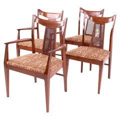 Jack Lenor Larsen Style Mid Century Walnut and Cane Upholstered Dining Chairs