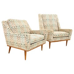Jack Lenor Larsen Style Milo Baughman James Inc MCM Teak Lounge Chairs, Pair