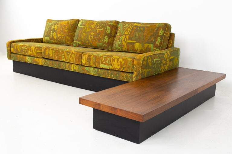 Jack Lenor Larsen style Milo Baughman for Thayer Coggin mid century sectional sofa. Sofa measures: 85 wide x 31.25 deep x 29 high, with a seat height of 16 inches  All pieces of furniture can be had in what we call restored vintage condition. That