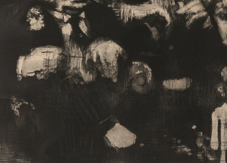 Jack Levine, American, 1915–2010 The Feast of Pure Reason, 1970 Etching, mezzotint and aquatint on copper in black ink.  20 w. 25  in., sight overall: 27 x 31.75 in.,  matted. Depicting three figures smoking;  signed in pencil lower right, edition: