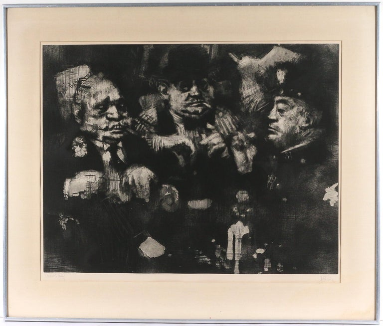 "Jack Levine Figurative Print - American Modernist ""Feast of Pure Reason"" Aquatint Mezzotint Etching WPA Artist"