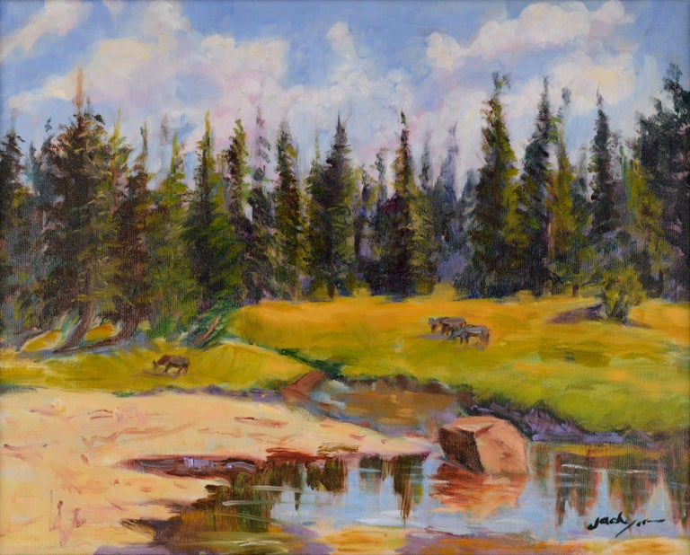 Grazing Cows Landscape  - Painting by Jack Lynn