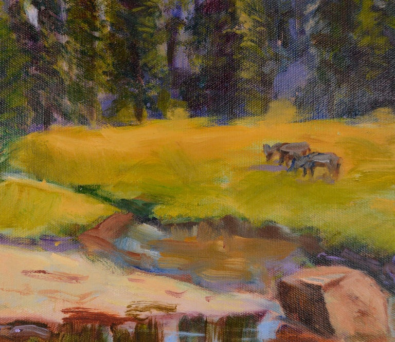 Grazing Cows Landscape  - American Impressionist Painting by Jack Lynn