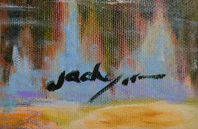Grazing Cows Landscape  - Black Landscape Painting by Jack Lynn