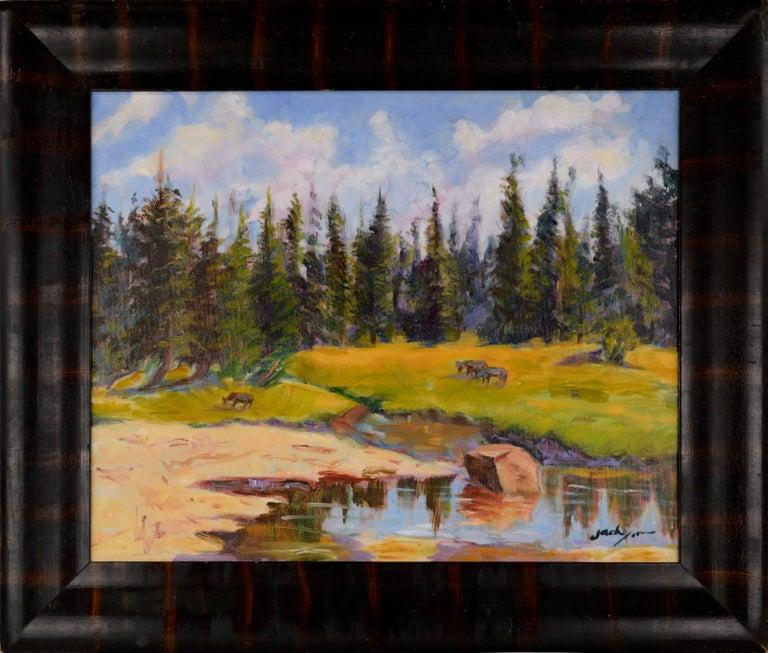 Jack Lynn Landscape Painting - Grazing Cows Landscape