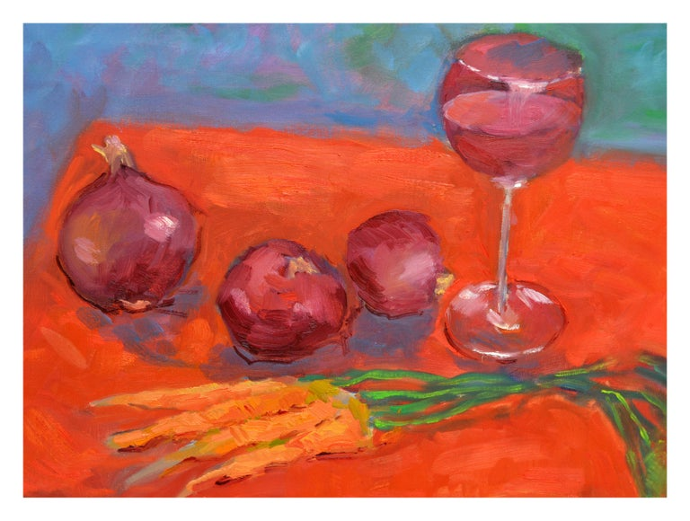 Wine, Onion and Carrots Still Live - Painting by Jack Lynn