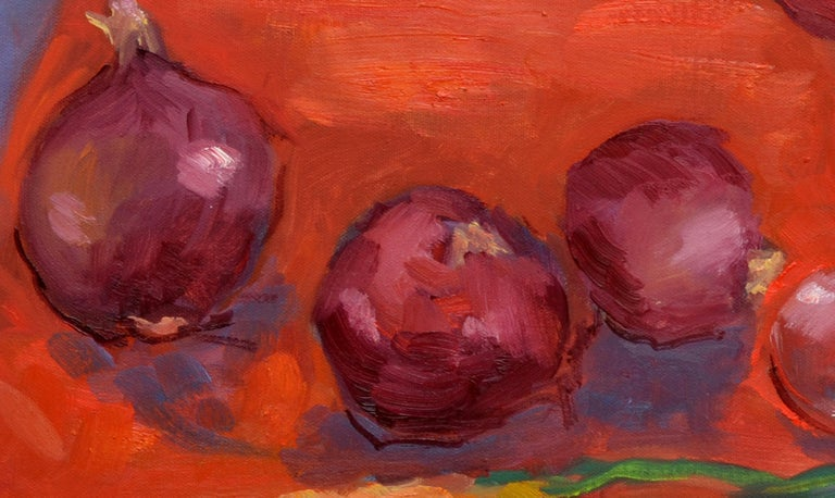 Wine, Onion and Carrots Still Live - American Impressionist Painting by Jack Lynn