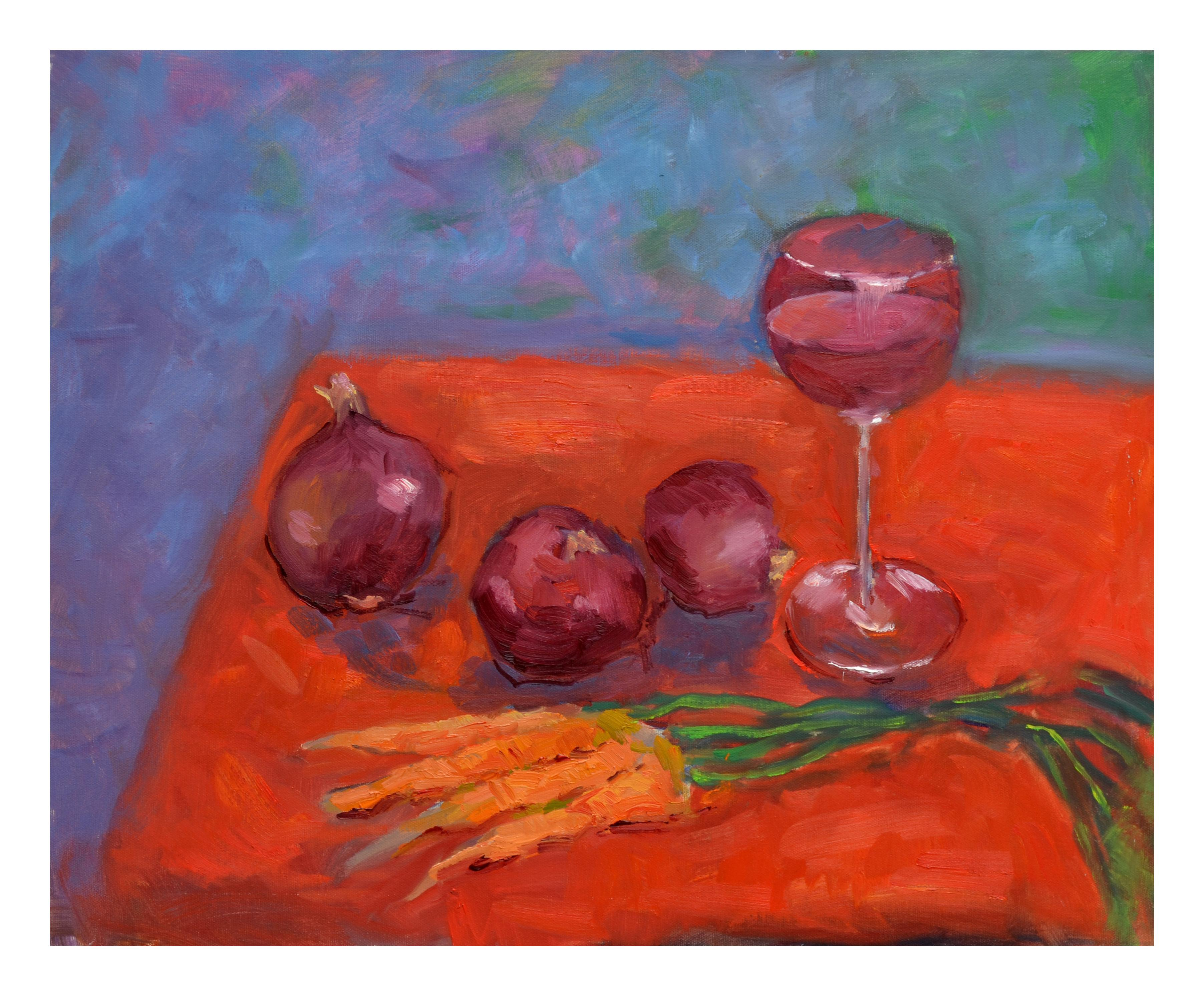 Wine, Onion and Carrots Still Live