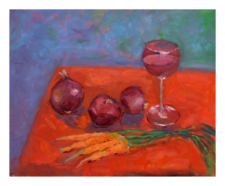 Jack Lynn Still-Life Painting - Wine, Onion and Carrots Still Live