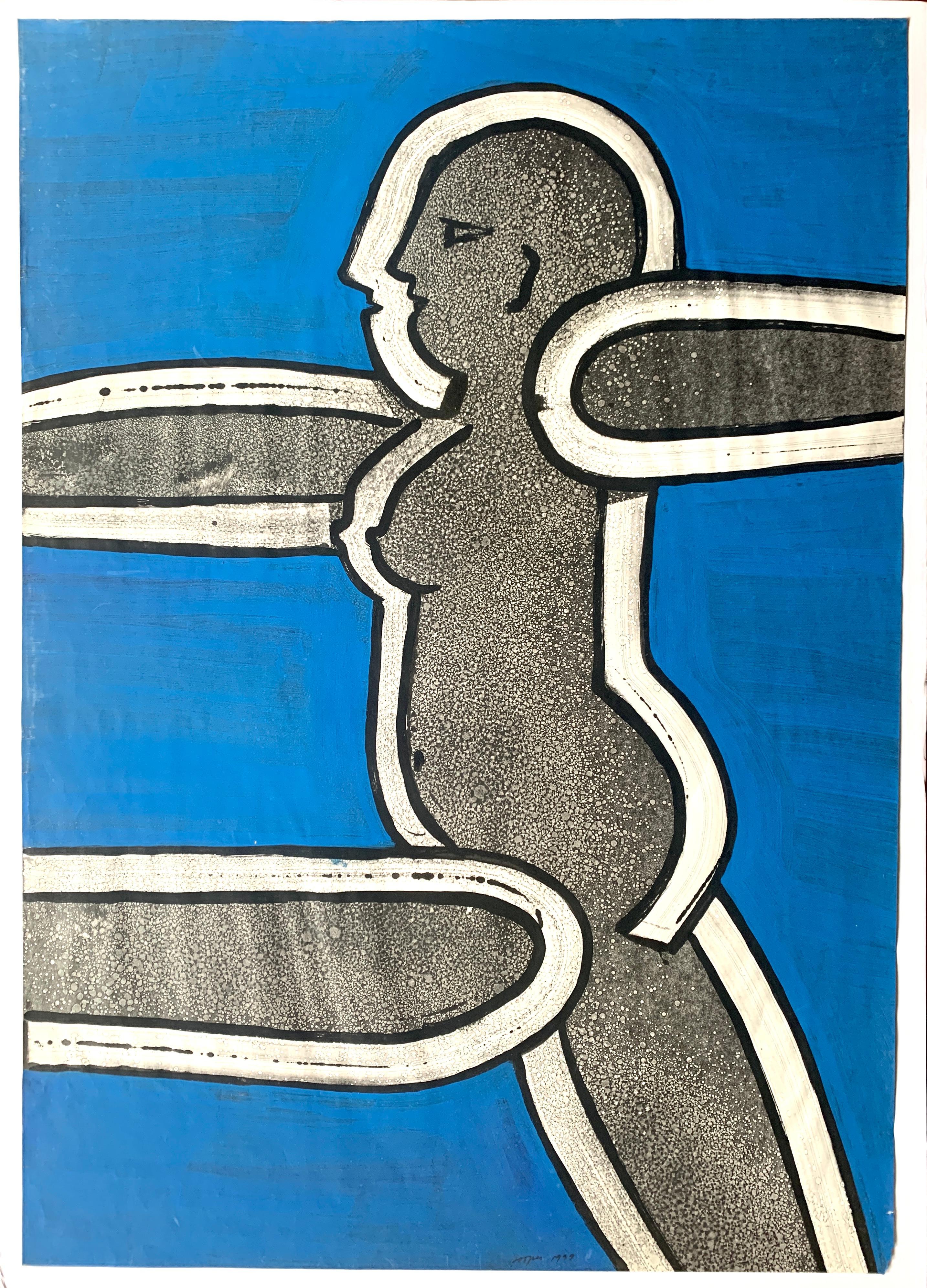 """Blue Nude"" Original Painting over Print Jack Hooper 1928-2014 CA Artist"