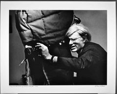 """16 x 20""""  Andy Warhol filming 'Women in Revolt', signed by Jack Mitchell"""