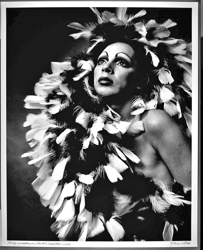 """16 x 20"""" vintage silver gelatin photograph of Andy Warhol Superstar Holly Woodlawn, 1970. It is signed by Jack Mitchell on the recto and in pencil on the verso. Comes directly from the Jack Mitchell Archives with a certificate of authenticity. The"""