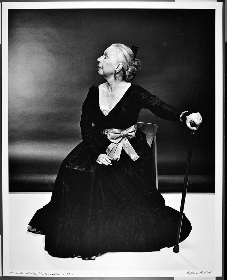 "16 x 20"" vintage silver gelatin photograph of Choreographer Agnes de Mille, photographed in 1980. It is signed by Jack Mitchell on the recto and in pencil on the verso. Comes directly from the Jack Mitchell Archives with a certificate of"