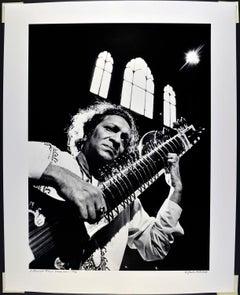 "16 x 20"" Indian Sitar Maestro Ravi Shankar, signed by Jack Mitchell"