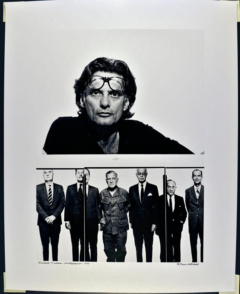 """16 x 20"""" vintage silver gelatin photograph of photographer Richard Avedon planning his Marlborough Gallery exhibition, photographed in 1975. It is signed by Jack Mitchell on the recto and in pencil on the verso. Comes directly from the Jack Mitchell"""