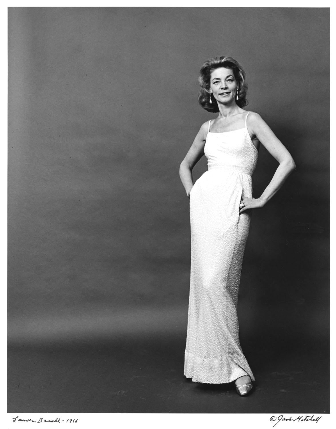 Actress Lauren Bacall, signed by Jack Mitchell