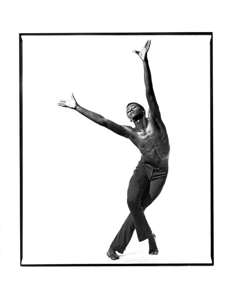 Jack Mitchell Black and White Photograph - Alvin Ailey dancer William Louther performing 'Revelations'