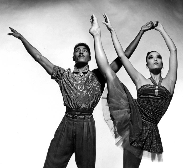 Alvin Ailey dancers  Andre Tyson & Dana Hash performing 'Shards' - Photograph by Jack Mitchell