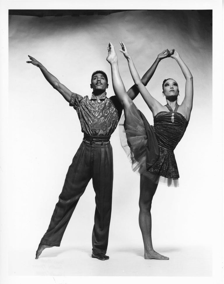 Jack Mitchell Black and White Photograph - Alvin Ailey dancers  Andre Tyson & Dana Hash performing 'Shards'