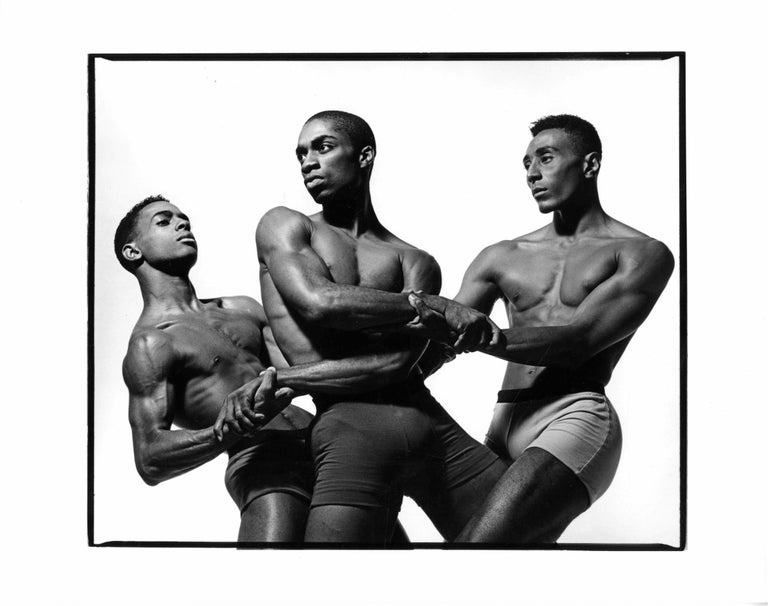 Jack Mitchell Black and White Photograph - Alvin Ailey dancers Aubrey Lynch II, Desmond Richardson & Andre Tyson