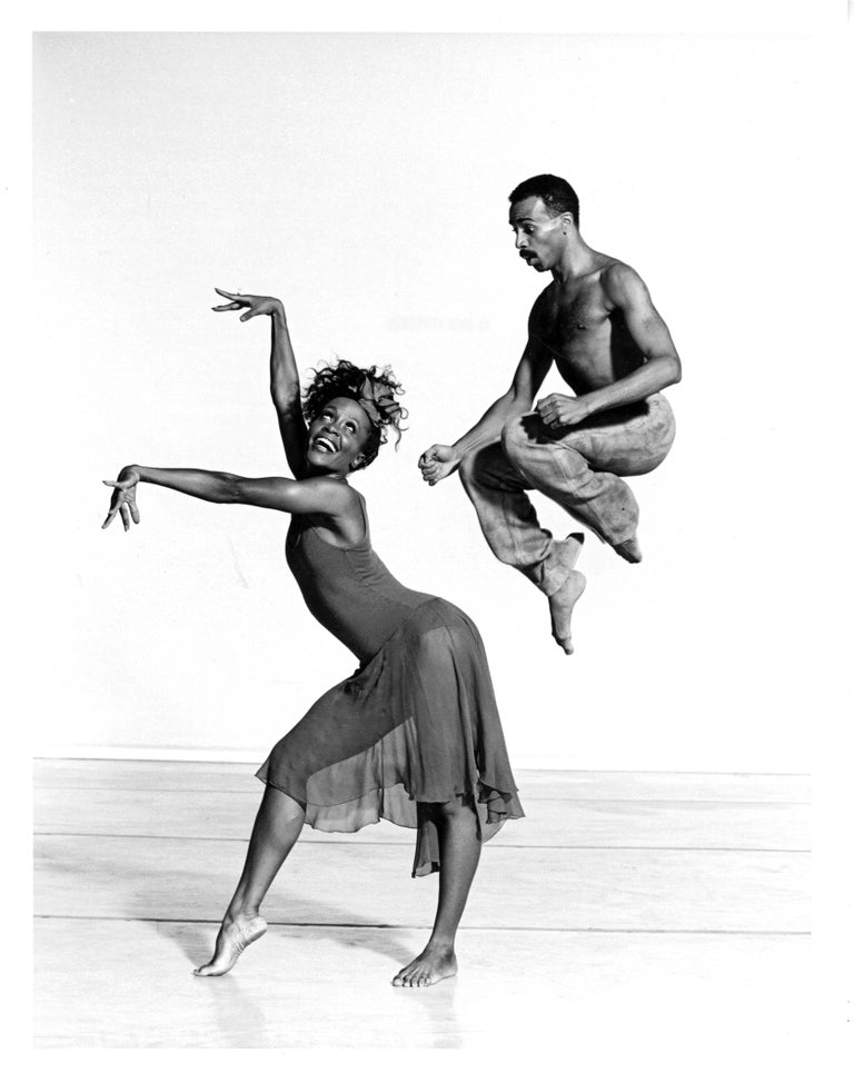 Jack Mitchell Black and White Photograph - Alvin Ailey dancers Renee Robinson & Carl Bailey in 'Rainbow Round My Shoulder'